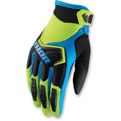 Detské rukavice Thor Spectrum 2018 čierno-zeleno-modré, na motorku