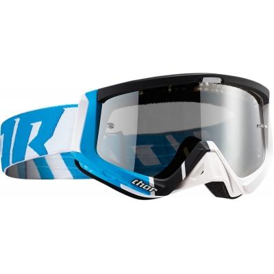 Okuliare na motorku Thor Sniper Barred bielo-modré, na motorku
