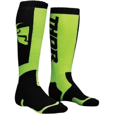 Detské ponožky THOR MX, čierno-zelené