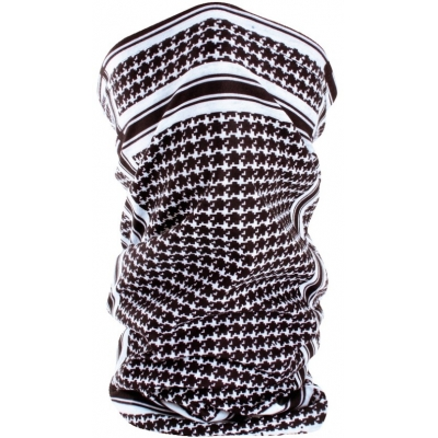 Šatka Zan motley tube houndstooth black white